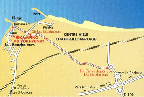 carte accès au camping Au Port Punay